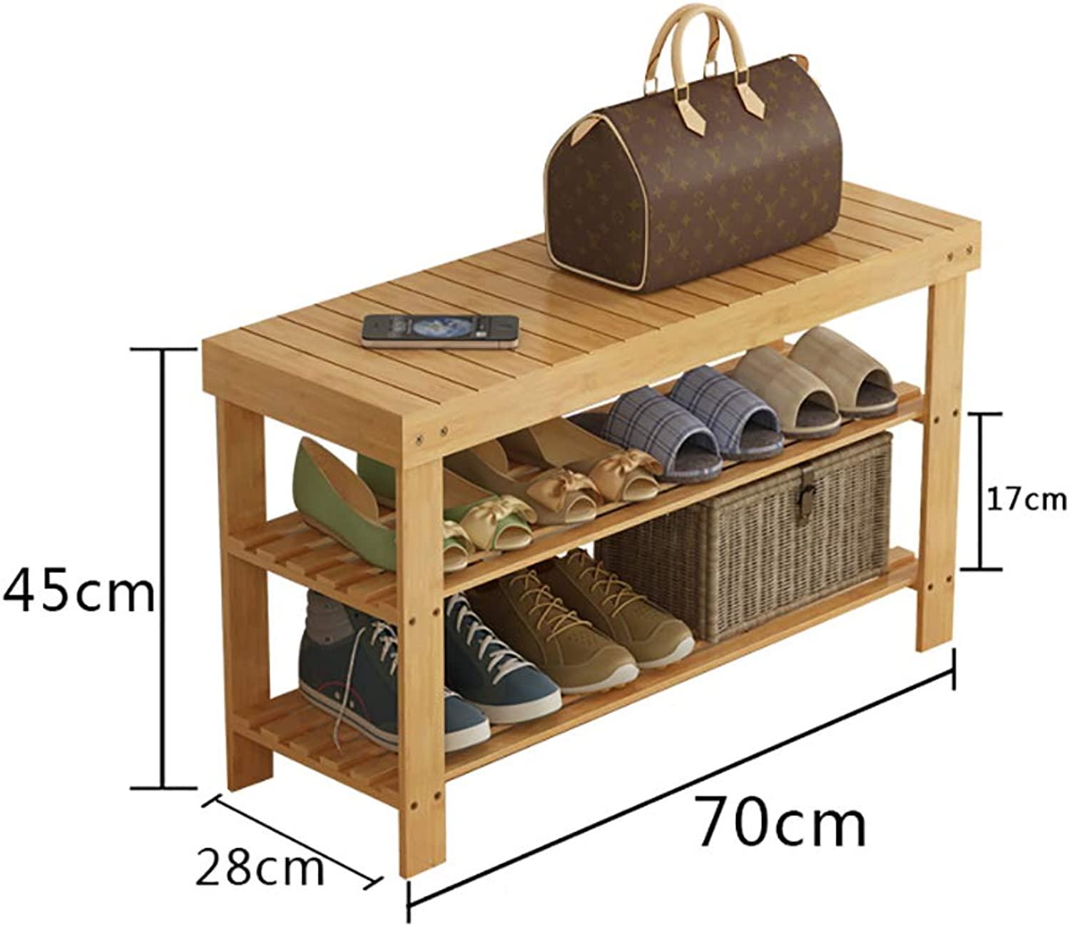 Entrance shoes Rack shoesbox Change shoes Bench Shelf Storage Shelf Multifunction 2 Layer Household Dorm Room Space Saving Doorway Bamboo (color   A, Size   70  28  45CM)
