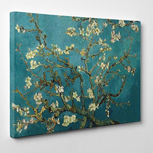 Quadro su Tela Canvas - INTELAIATO - Pronto da Appendere - Van Gogh - Ramo di MANDORLO Fiorito- 50x70cm - Senza Cornice - (cod.296)