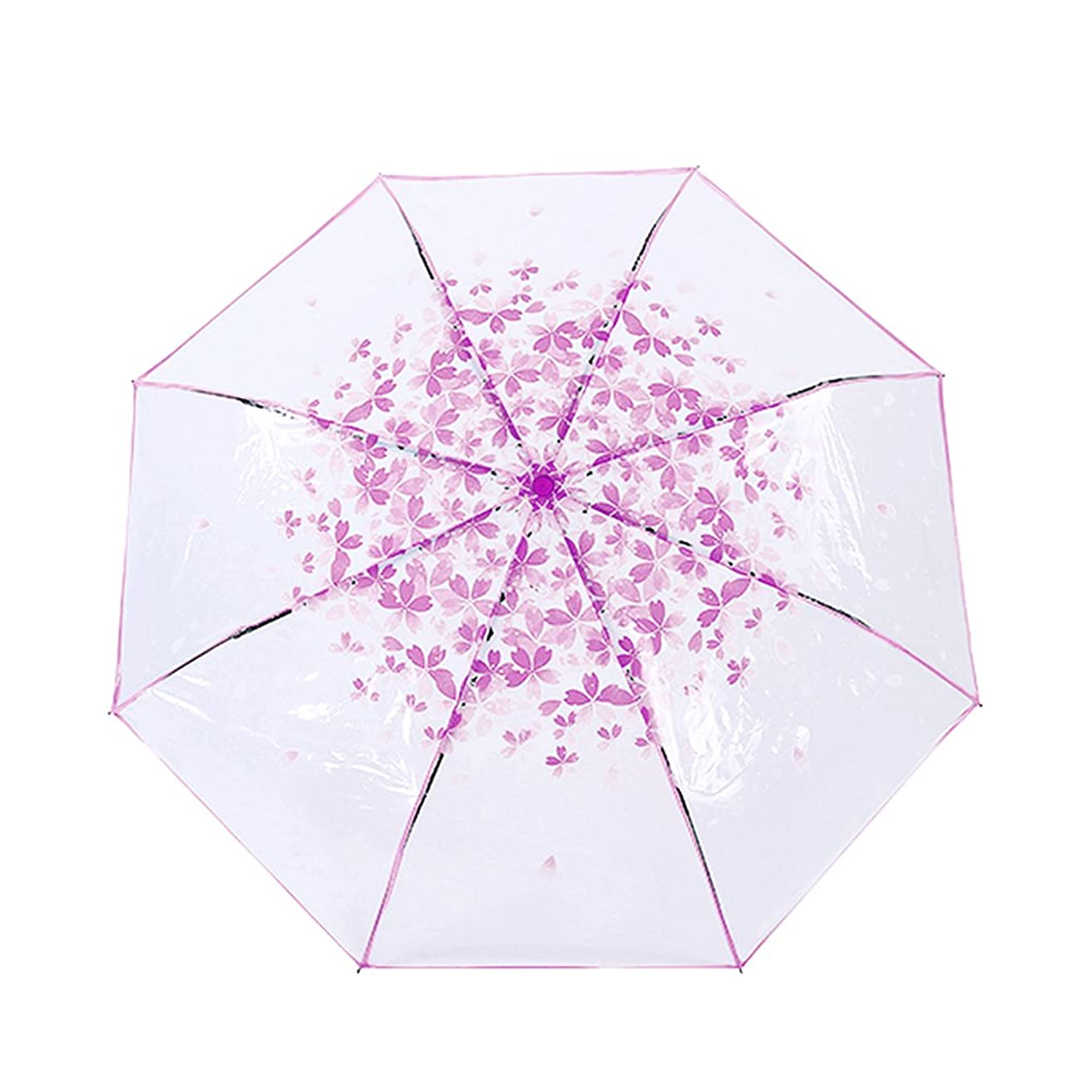 涙合併症ラメレディース雨傘 折りたたみ傘 桜柄 8本骨 ビニール傘 半透明 軽量 超撥水 雨/雪/風 遮断 女性 ガールズ 可愛い傘 梅雨対策 通勤 通学 アウトドア 人気雨具 レイングッズ パープル