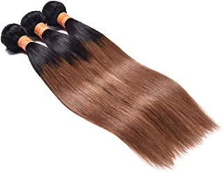 1B/30 Ombre Brazilian Hair Straight 3 Bundles Deals Color Black to Dark Brown 8A Remy Silky Straight Virgin Human Hair Sew in Weave (10