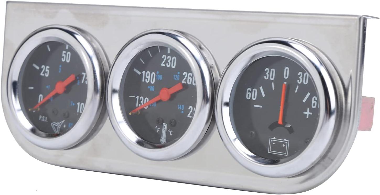 Medidor de amperios de temperatura de agua de presión de aceite, confiabilidad Medidor de amperios de temperatura de agua de presión de aceite Uso conveniente para vehículos de gasolina de