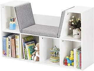 HONEY JOY 6-Cubby Kids Bookcase w/Cushioned Reading Nook, Multi-Purpose Storage Organizer Cabinet Shelf for Children Girls & Boys Bedroom Decor Room, White