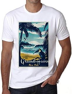 Ultrabasic® Men's Graphic T-Shirt Pura Vida Beach Name Vintage Grand Haven