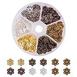 Pandahall Elite - Lot de 1 Packs Perlen espacees Perlen Trennblatt Silber Tibetain Stil aus Legierung, Silber antik, 300pcs/Packs, Couleur Melangee, 9.5x10x3mm