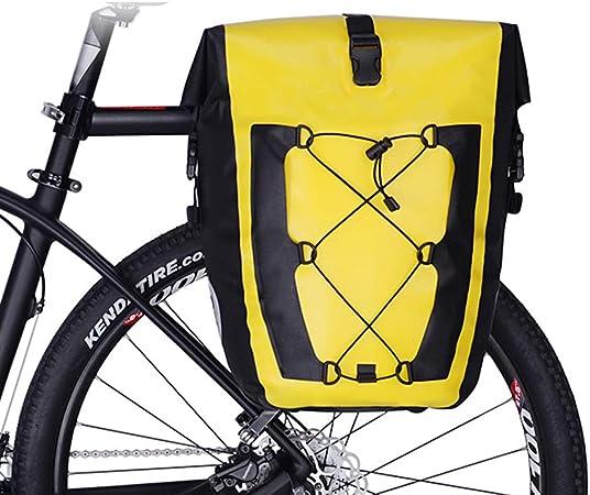 CARACHOME Alforja Bici, Alforjas Bicicleta Multifunción De 27 litros,Bolsa Bici Ultraligera Y Plegable, Bolsa para Bicicleta con Correa De Hombro Alargada,Yellow: Amazon.es: Hogar