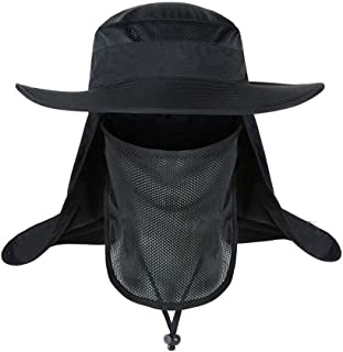 Breathable Fishing Caps Sunshade Outdoor Sport Camping Hiking Visor Hat UV Protection Face Neck Cover Fishing Sun Protect Cap,Black,L