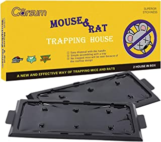 Garsum Mouse Trap,Rat Sticky Traps   Large Rat Glue Boards   Extra Sticky Traps with Hanger   Dust Cover   Easy Clean   Peanut Butter Large Scented Mouse Traps Glue Board for Mice & Rodent &Pest