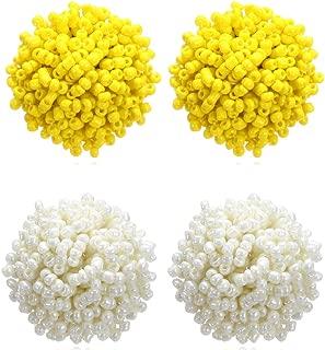 2 Pairs Beaded Ball Stud Earrings Set Resin Seed Beaded Earrings Cluster Ball White Stud Earrings Hypoallergenic for Girls Women