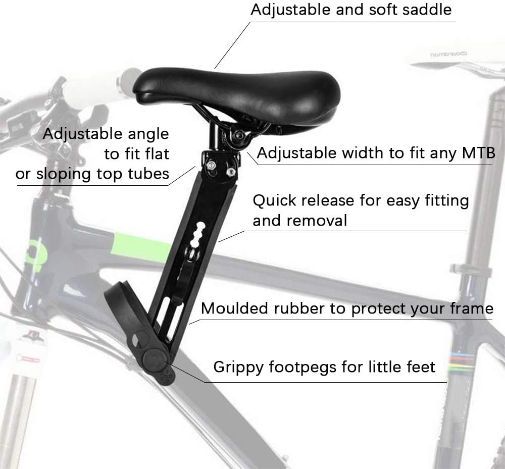 GemonExe Front Mounted Child Bike Seat(with Handlebar Combo Pack or Without Handle),Detachable Kids Bike Seat with Foot Pedals for Children 2-5 Years (up to 48 Pound) | Compatible with All Adult MTB