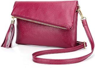 Piccola borsa a tracolla in pelle per le donne con cerniera piegata patta piatta borsa con nappa zip estrattore casual borsa