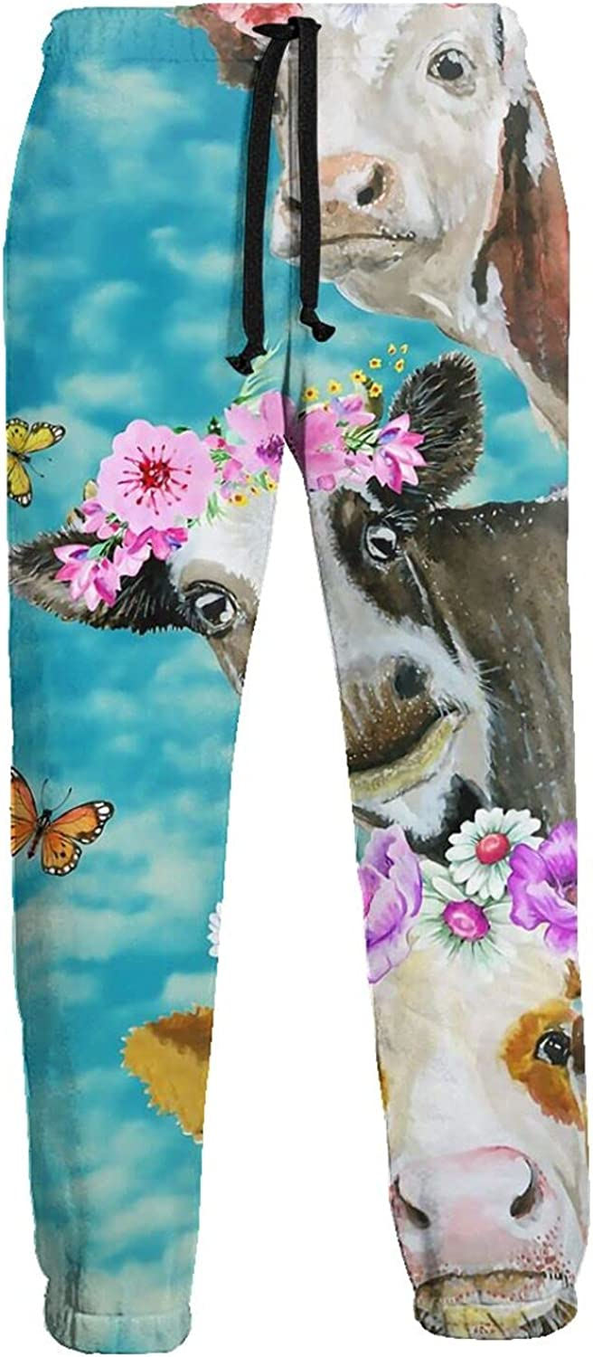 Men's Jogger Sweatpants Cow Flowers Butterfly 3D Loose Joggers Pants with Drawstring Long Pants