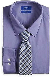 Men Slim Fit Stretch Collar Dress Shirt & Tie Set