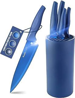 Wanbasion Bleu Set Couteaux de Cuisine avec Bloc, Set Couteaux de Cuisine en Acier Inoxydable, Bloc Couteaux Cuisine Profe...