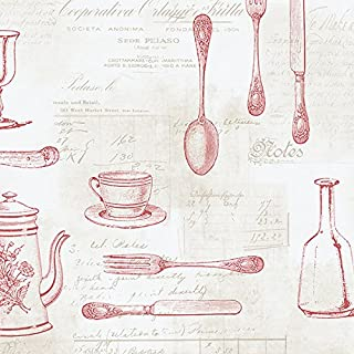 Norwall NWKE29938 Staunton Kitchen Utensils Toile Textured Wallpaper, Multi-Colored