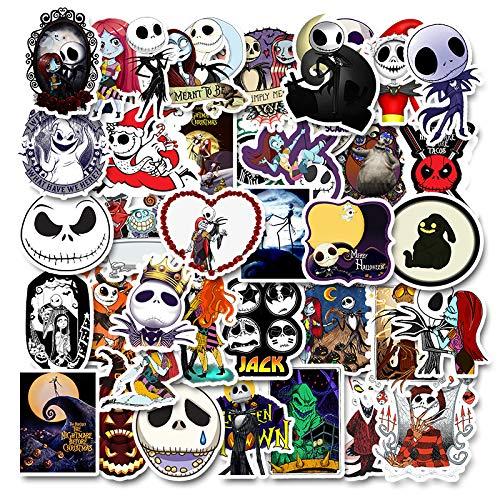 PMSMT 50 Piezas Esqueleto cráneo Diablo Dibujos Animados PVC Juguetes Seguros Pegatinas Frescas para niños niños Equipaje portátil Pegatina portátil Estilo de Coche