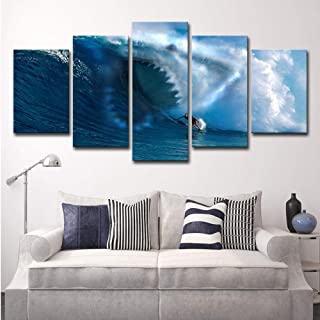 dianlan 5 Panels 5 Pieces Home Decoration Painting Great White Shark Restaurant Cafe Creative Art Poster Room Sofa Background Wall Hanging Painting Gift(No Frame)