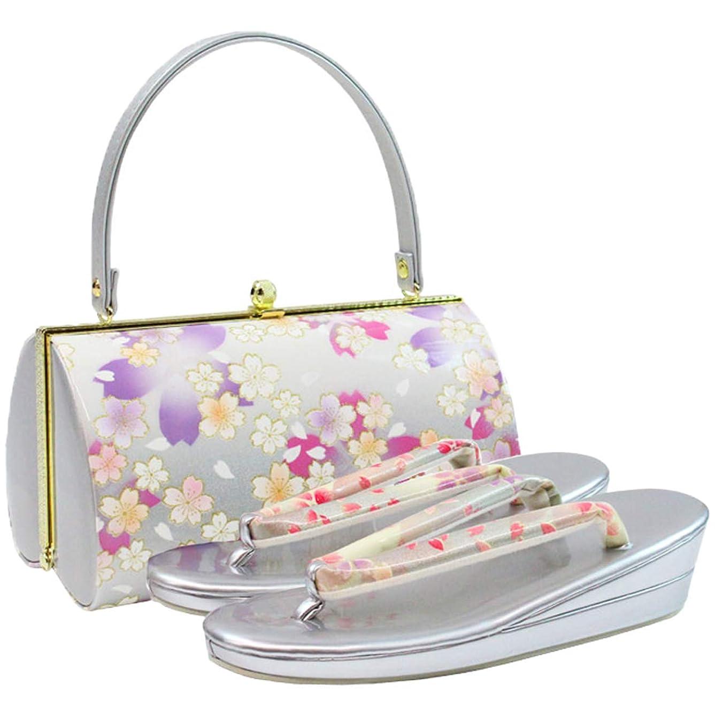 ストラップ粒松草履バッグセット レディース Fサイズ 銀色 ラメ 桜柄 エナメル N1822