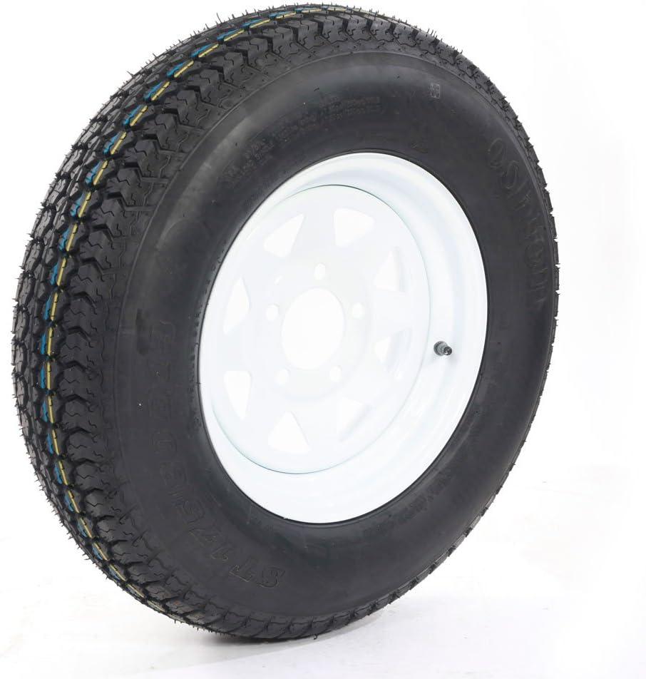 Set of 4 Trailer Wheel with bias ST175//80D13 175//80 D 13 LRC 5 Hole White Spoke