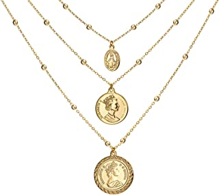 Coin Pendant 18K Gold Plated Canadian (Front and Back Different Prints) Station Chain Stylish Vintage Christmas Layered Sweater Necklace for Women
