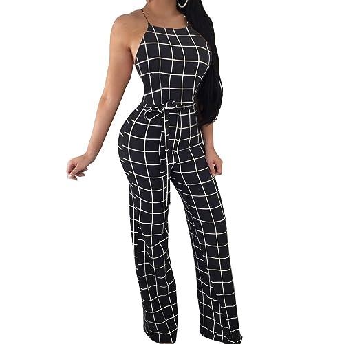 4d9bc19ccd59 FANCYINN Women Plaid Backless Spaghetti Strap Wide Leg Jumpsuit Checkered  Romper