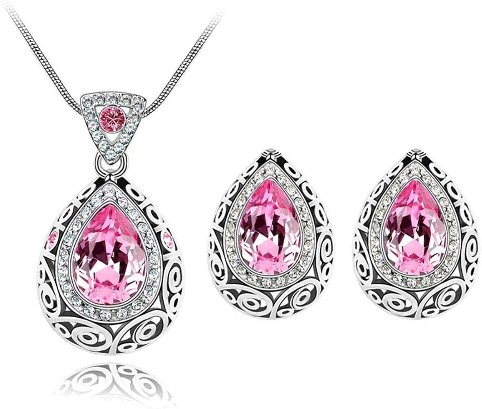 Urns Ashes Funeral Water Drop Necklace Earrings Jewelry Set Crystal Pendant Necklace Ladies Charm Jewelry Charming Neck Decoration,Colour:Green Pet Memorial Dog cat Urn (Color : Deep Pink)