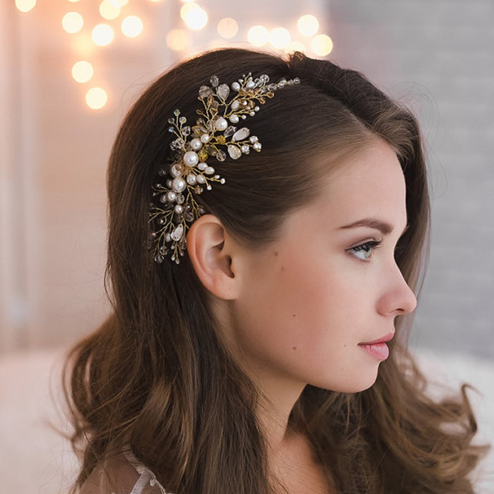 Delicate Bridal Pearl Crystal Hair Comb Wedding headpiece Bride Accessories SIDE