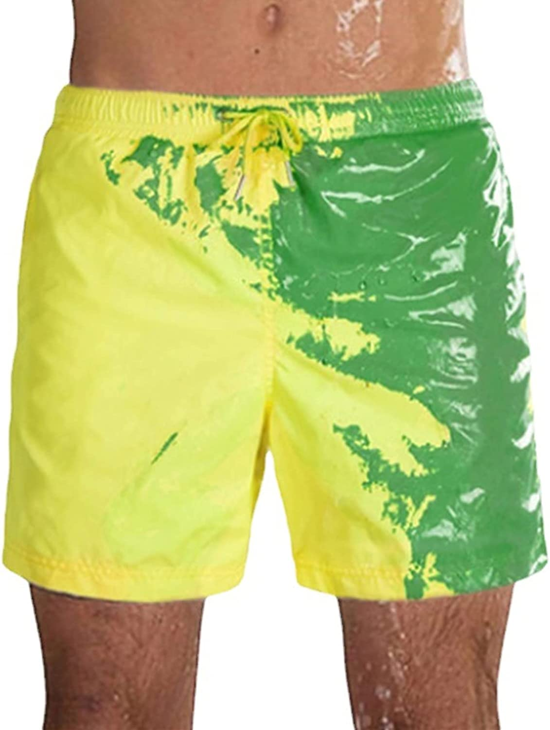 Men Swimming Color Changing Swim Trunks Summer Cool Quick Dry Board Beach Short Casual Draw-String Jogger Shorts (Dark Green,X-Large)