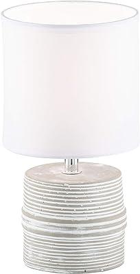Fischer & Honsel Pilot 50358 Lampe de table 1 ampoule E14 max. 40 W Blanc/gris Abat-jour en tissu 13 x 13 x 24 cm