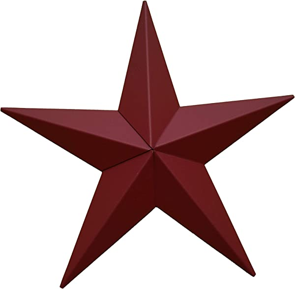 AMISH WARES 72 Inch Heavy Duty Metal Barn Star Painted Solid Cranberry
