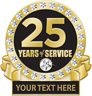 25 Years of Service Pin, 25 Years Award Pin with Rhinestones, Engraving Included Prime