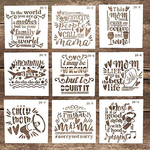 Plantillas decorativas para letras de mamá reutilizables para manualidades, pintura en madera, lona, suelo, pared y azulejos (5.9 x 5.9 pulgadas), juego de 9