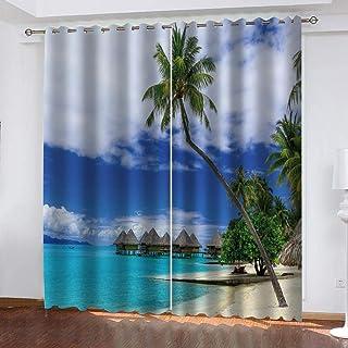shzyy Cortinas de impresión de sombrilla, Cortinas de Fibra de poliéster 3D de árbol de Coco Junto al mar, decoración Interior Fresca, Cortinas Opacas Altas (59