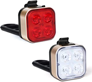 Akale USB Rechargeable Bike Light Set,Super Bright LED Bicycle Lights Front and Rear, 4 Light Modes, IPX4 Waterproof, Easy to Install for Men Women Kids Road Mountain Cycling