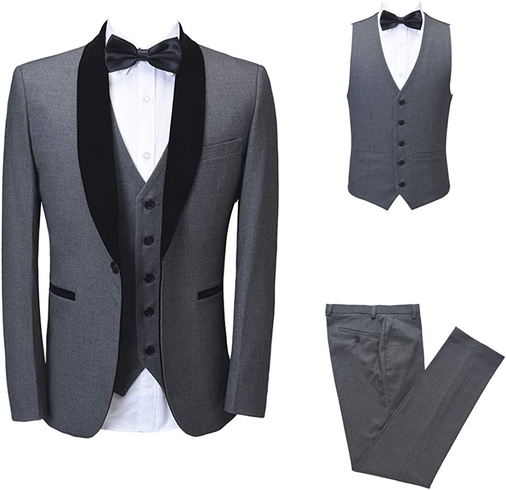 Mens Gray Tailored Solid Black Shawl Lapel Tuxedo Classic Slim Fit Suit for Business Meeting Prom Party