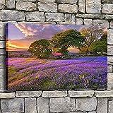 ganlanshu Quadro Senza corniceCanvas Wall Art Campo di Fiori di Lavanda Bellissimo tramonto soggiorno decorazione Della casa Albero poster50X75cm