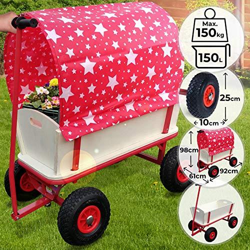 Bollerwagen - 4 Räder, mit Dach, Holz, max. 150kg, 92x61x98cm, Rot mit Sterne - Handwagen, Gartenanhänger Gartenwagen, Transportwagen, Strandwagen