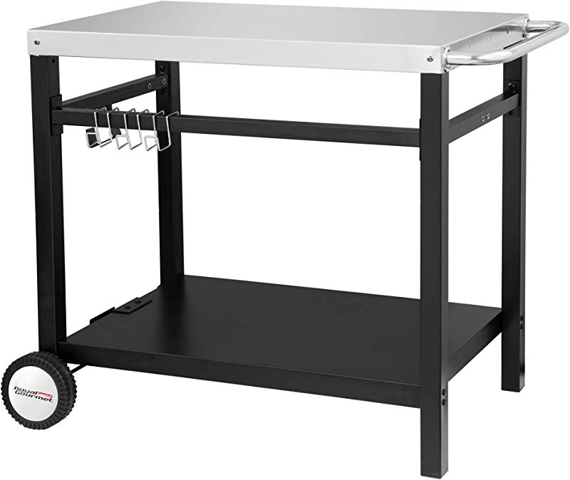 Royal Gourmet Double Shelf Movable Dining Cart Table Commercial Multifunctional Stainless Steel Flattop Worktable PC3401S