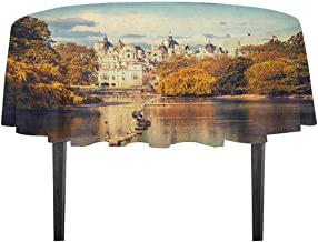 kangkaishi London Leakproof Polyester Tablecloth Picturesque ST James Park in UK Baroque Architecture Heritage Medieval Landscape Dinner Picnic Home Decor D35.4 Inch Multicolor