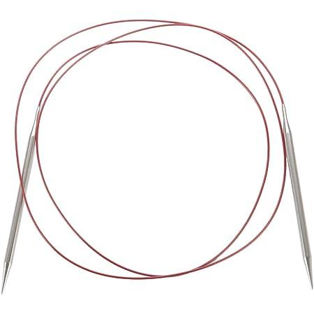 CHIAOGOO Dentelle Rouge en Acier Inoxydable Aiguilles à Tricoter Circulaire 60-inch-Size 9/5,5mm, Autres, Multicolore
