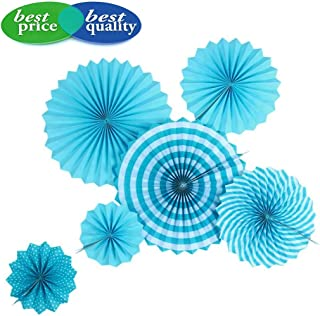 Paper Fans Party Decorations Set, Round Pattern Hanging Paper Garlands Decoration for Wedding Birthday Party Baby Showers Graduation Events Accessories, Set of 6 (Blue)