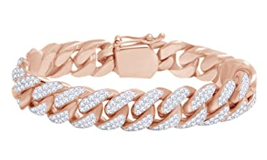 Round Shape White Natural Diamond Miami Cuban Chain Bracelet In 10k Solid Gold (9.50 cttw)