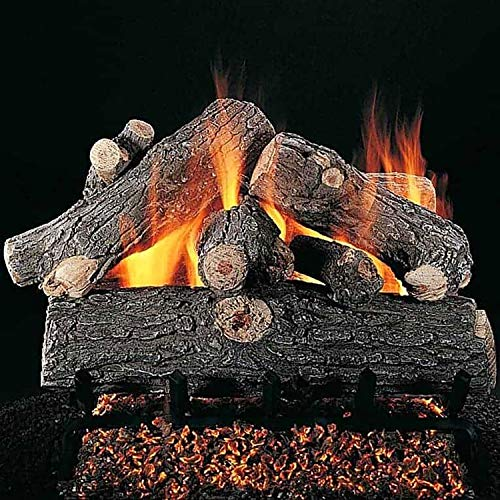 Best Bargain Rasmussen Prestige Oak Log Set with 24-Inch Flaming Ember Xtra Burner and Electronic Sp...