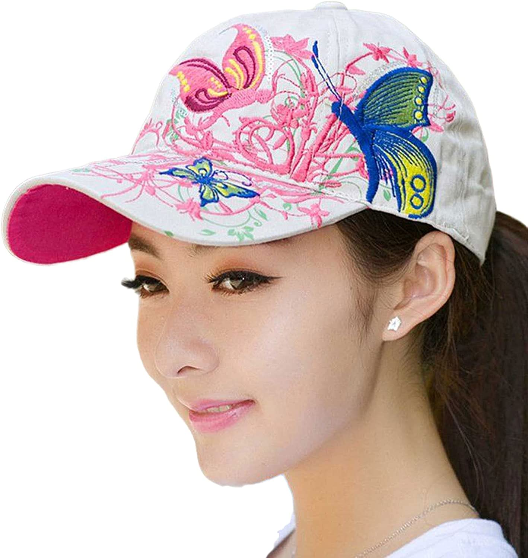 Tonmild Women's Fashion Embroidery Flower & Butterfly Baseball Cap Sun Hats