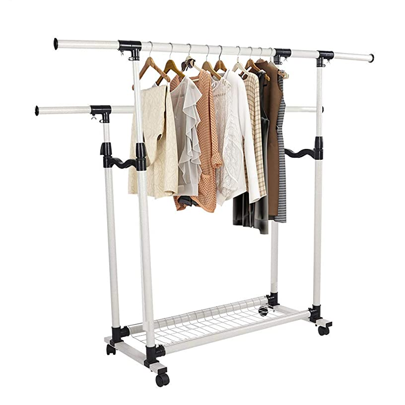 Cocoarm Adjustable Collapsible Rolling Clothing Garment Rack with Bottom Shelves and Wheels (Double Rails)