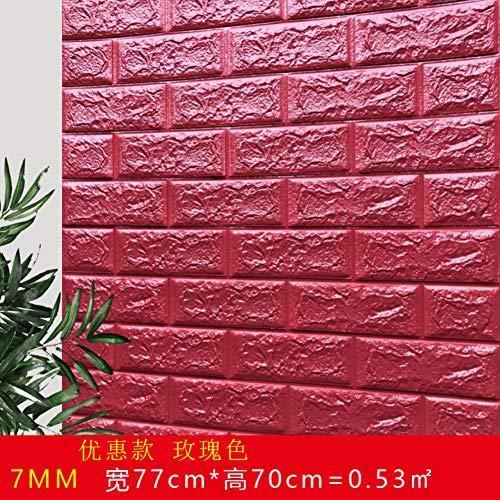 JXBoos 3D Selbstklebende Ziegel Wandpaneele, Dekorative Tapete Anti-kollision Weichschaum Dekorative Tapete Wandkunst dekor DIY-rot 70x77cm(28x30inch)*10p