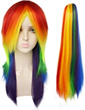 JoneTing Rainbow Wig Long Straight Wigs Synthetic Hair Wig with Ponytail 69 Wig Costume Halloween