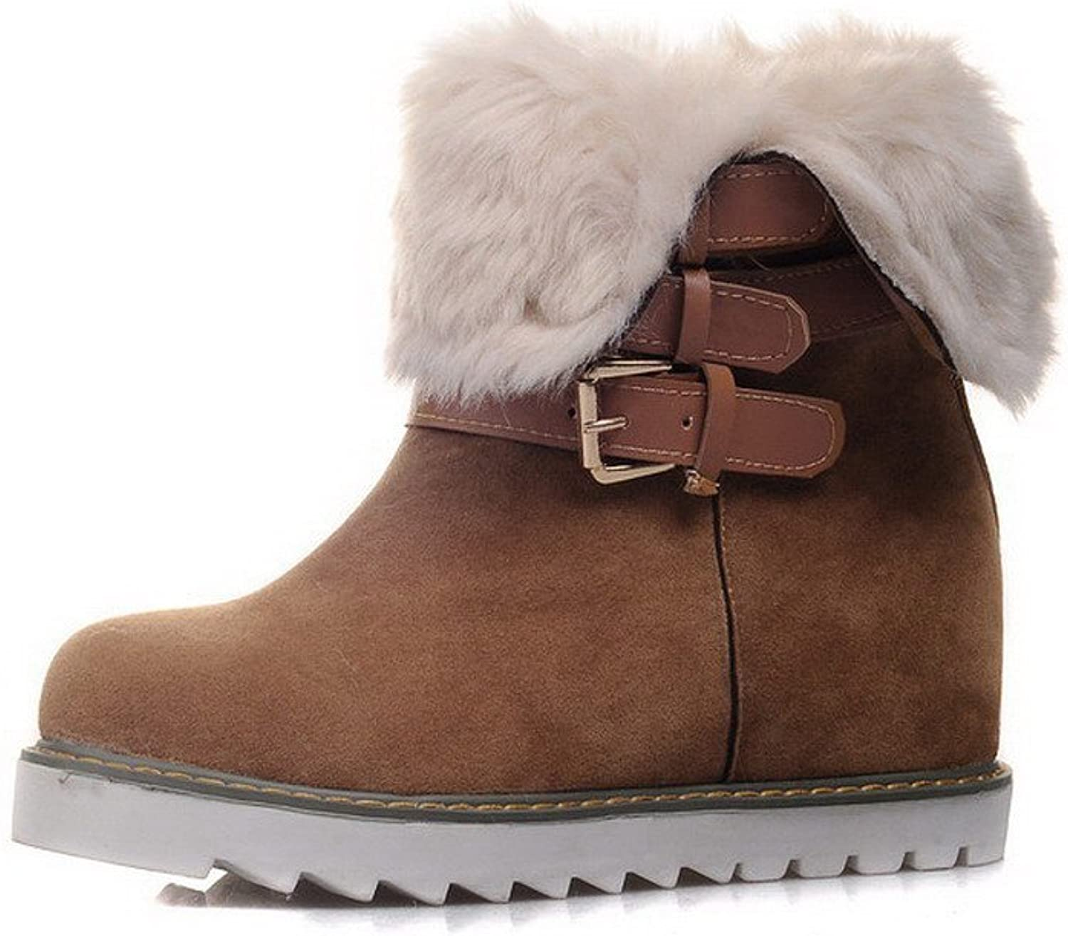 AllhqFashion Women's Kitten-Heels Frosted Low-top Solid Pull-on Snow-Boots