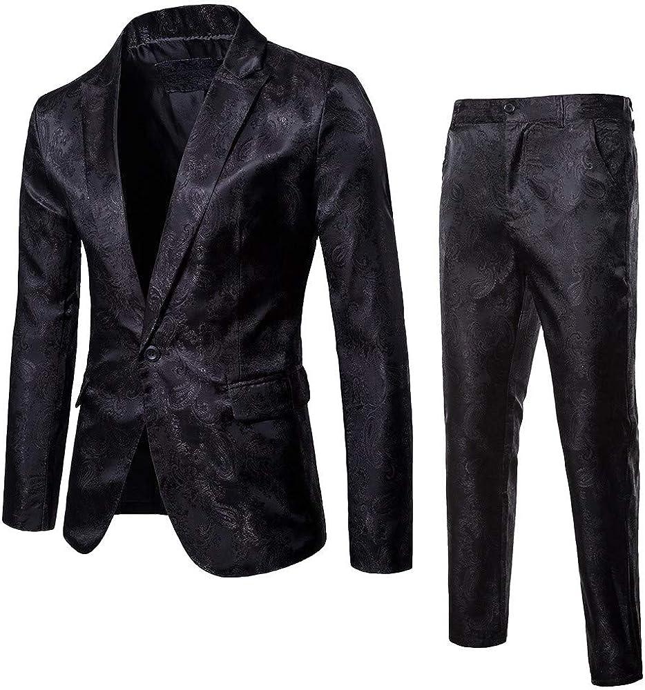 Men's Button Suit,Fxbar Fashion Men Slim Pure Color Dress Blazer Host Show Jacket Coat & Pant Party Tops