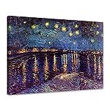 Wandbild Vincent Van Gogh Sternennacht über der Rhône - 70x50cm quer - Alte Meister Berühmte Gemälde Leinwandbild Kunstdruck Bild auf Leinwand