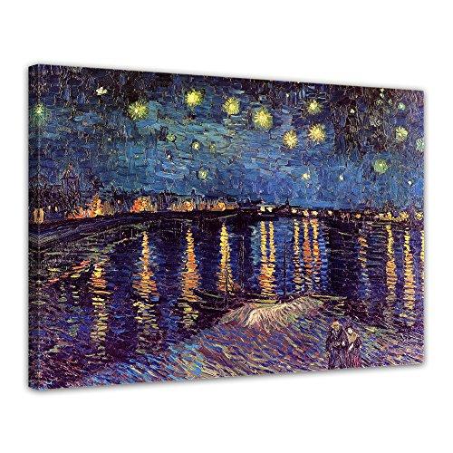 Leinwandbild Vincent Van Gogh Sternennacht über der Rhône - 80x60cm quer - Wandbild Alte Meister Kunstdruck Bild auf Leinwand Berühmte Gemälde